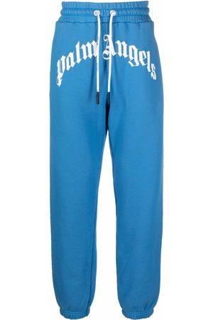 Palm Angels Hombre Joggers - GD CURVED LOGO SWEATPANTS BLUE WHITE