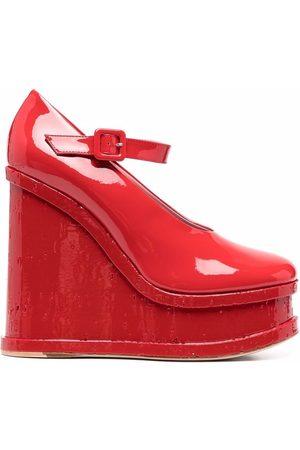 HAUS OF HONEY Mujer Wedges - Zapatillas de charol con cuña de 130mm
