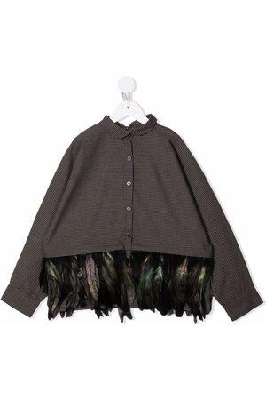 Le pandorine Niña Camisas - Camisa con ribete de plumas