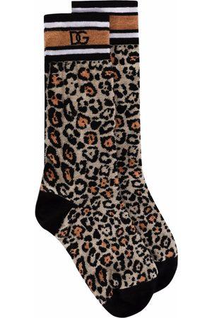Dolce & Gabbana Mujer Calcetines - Calcetines con estampado de leopardo