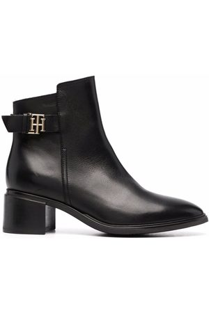 Tommy Hilfiger Mujer Botines - Logo-plaque heeled leather ankle boots