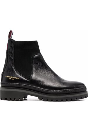 Tommy Hilfiger Outdoor Knit flat leather ankle boots