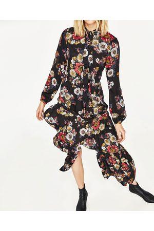 Vestido largo estampado negro zara