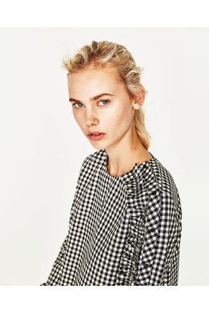 Mujer Camisas y Blusas - Zara CUERPO CUADROS VOLANTE MANGA