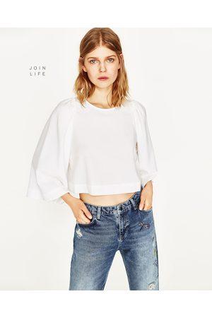 Mujer Camisas y Blusas - Zara CAMISA CROPPED MANGA VOLUMEN