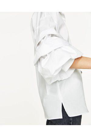 Mujer Camisas y Blusas - Zara CAMISA POPELÍN MANGA PLIEGUES