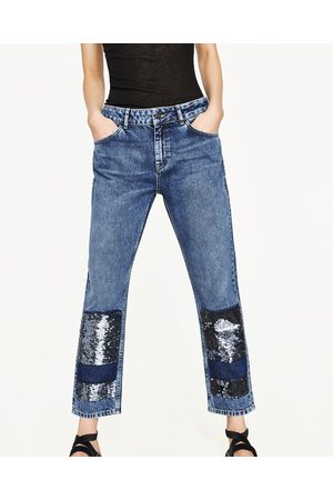 Mujer Jeans - Zara JEANS TIRO MEDIO CON LENTEJUELAS