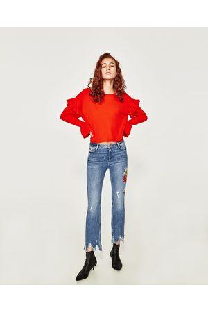 Mujer Jeans - Zara JEAN DENIM MINI FLARE BORDADO FLOR