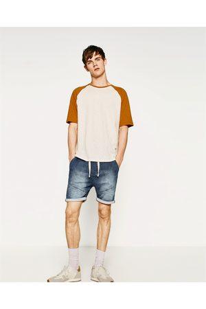 Hombre Bermudas - Zara BERMUDA FELPA DENIM - Disponible en más colores