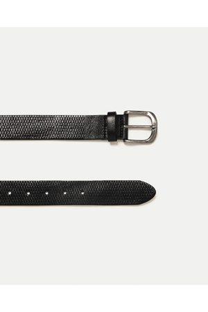 Hombre Cinturones - Zara CINTURÓN PIEL GRABADA
